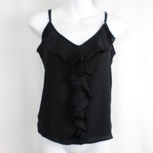 Forever 21 Tops - Black Tank Top with Ruffle Collar and Front